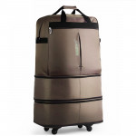 91L Retractable Suitcase Foldable Unisex Suitcase Lockable Travel Spinner Rolling Trolley Clothing Bag(Coffee)