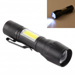 A3 USB Charging Waterproof Zoomable XPE + COB Flashlight with 3-Modes & Clip & Storage Box