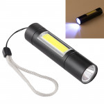 A1 USB Charging Waterproof Fixed Focus XPE + COB Flashlight with 3-Modes & Storage Box
