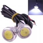 2 PCS 2x 3W 120LM Waterproof Eagle Eye Light White LED Light for Vehicles, Cable Length: 60cm(Silver)