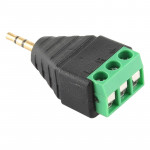 2.5mm Male Plug 3 Pole 3 Pin Terminal Block Stereo Audio Connector