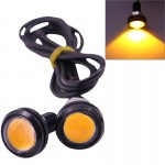 2 PCS 2x 3W 120LM Waterproof Eagle Eye Light Yellow LED Light for Vehicles, Cable Length: 60cm(Black)
