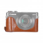1/4 inch Thread PU Leather Camera Half Case Base for Canon G7 X Mark II (Brown)