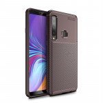 Carbon Fiber Texture Shockproof TPU Case for Galaxy A9s (Brown)