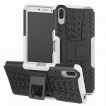 Tire Texture TPU+PC Shockproof Case for Sony Xperia L3, with Holder (White)
