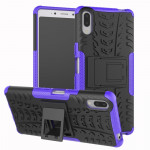 Tire Texture TPU+PC Shockproof Case for Sony Xperia L3, with Holder (Purple)
