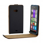Vertical Flip Magnetic Button Leather Case for Microsoft Lumia 540(Black)