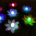 3 Color LED Flood Light Artificial Lotus Floating Flower Shape Lamps For Outdoor Swimming Pool Wishing Party(Purple)