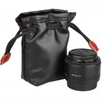 Soft PU Leather + Villus Storage Bag with Stay Cord for Camera Lens, Size: 70mm x 60mm x 130mm