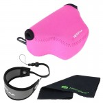 NEOpine Neoprene Soft Triangle Camera Bag + Hand Strap + Cleaning Cloth Set for Samsung NX3000 Camera 20-50mm Lens(Pink)