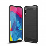 Brushed Texture Carbon Fiber Shockproof TPU Case for Galaxy M10(Black)