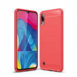 Brushed Texture Carbon Fiber Shockproof TPU Case for Galaxy M10(Red)