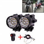 2 PCS DC 12V 5500LM 6000K 45W IP67 9 LED Lamp Beads Motorcycle Aluminum Alloy LED Headlight Lamps with Switch and Cable Hardness