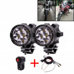 2 PCS DC 12V 4000LM 6000K 30W IP67 6 LED Lamp Beads Motorcycle Aluminum Alloy LED Headlight Lamps with Switch and Cable Hardness