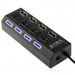 High Speed 4 Ports USB 2.0 HUB with Switch & 4 LED, Plug and Play(Black)