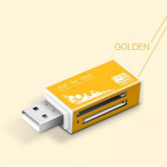 Multi in 1 Memory SD Card Reader for Memory Stick Pro Duo Micro SD,TF,M2,MMC,SDHC MS Card(Gold)