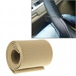 Leather Steering Wheel Cover With Needle and Thread, Size: 54x10.5cm (Beige)
