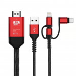 3 in 1 Micro USB + USB-C / Type-C + 8 Pin to HDMI HDTV Cable (Red)