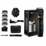 RIWA Professional Mens Hair Clipper Fast Charger Washable Barber Clippers with LCD Display, Plug Type::EU Plug(Black)