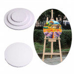 White Panel Round Canvas Board Wooden Frame Painting 30cm