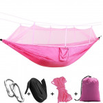 1-2 Person Outdoor Mosquito Net Parachute Hammock Camping Hanging Sleeping Bed Swing Portable Double Chair, 260 x 140cm(pink)