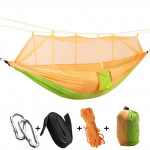 1-2 Person Outdoor Mosquito Net Parachute Hammock Camping Hanging Sleeping Bed Swing Portable Double Chair, 260 x 140cm(yellow