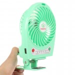 Hadata 4.3 inch Portable USB / Li-ion Battery Powered Rechargeable Fan with Third Wind Gear Adjustment & Clip(Green)