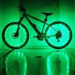 YWXLight 2m 20LEDs LED Bicycle Wheel Light Waterproof Safety Lamp for Night Cycling Spoke Accessories (Green Light)