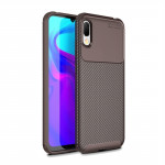 Beetle Series Carbon Fiber Texture Shockproof TPU Case for Huawei Y6 Pro (2019) (Brown)
