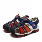 Summer Korean Version Of The New Children\'s Baotou Beach Shoes (Color:Dark Blue Red Size:29)
