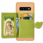 Leaf Magnetic Snap Litchi Texture TPU Protective Case for Galaxy S10, with Card Slots & Holder & Wallet(Brown)