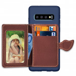 Leaf Magnetic Snap Litchi Texture TPU Protective Case for Galaxy S10, with Card Slots & Holder & Wallet(Dark Blue)