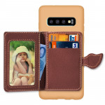 Leaf Magnetic Snap Litchi Texture TPU Protective Case for Galaxy S10+, with Card Slots & Holder & Wallet (Brown)