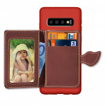 Leaf Magnetic Snap Litchi Texture TPU Protective Case for Galaxy S10+, with Card Slots & Holder & Wallet (Red)