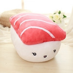 Cute Doll Plush Emoji Sushi Stuffed Decorative PP Cotton Pillow with Pillow Insert, Size: 44x30x35cm(Red)