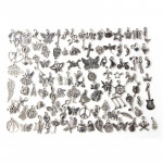 100pcs Mixed Antique Silver Color European Bracelets Charm Pendants Fashion Jewelry DIY Charms Handmade