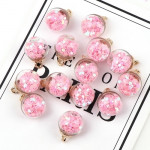 50pcs 16mm Colorful Transparent Glass Ball Star Charms Pendant(PinK)
