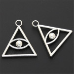 50pcs Devil Eye Pattern Antique Silver Zinc Alloy Triangle Pendant