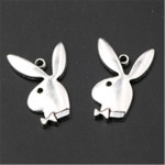 100PCS Antique silver Handsome rabbit gentleman charm earring Necklace DIY jewelry alloy Pendants A792