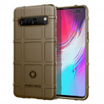 Shockproof Rugged Shield Full Coverage Protective Silicone Case for Galaxy S10 5G(Brown)