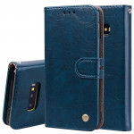 Business Style Oil Wax Texture Horizontal Flip Leather Case for Galaxy S10 E, with Holder & Card Slots & Wallet (Blue)