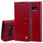 Business Style Oil Wax Texture Horizontal Flip Leather Case for Galaxy S10 Plus, with Holder & Card Slots & Wallet (Red)