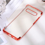 Three Sections Electroplating Side TPU Protective Back Case for Galaxy S10 Plus (Red)