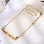 Three Sections Electroplating Side TPU Protective Back Case for Galaxy S10 Plus (Gold)