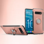 Shockproof Car Magnetic Case with 360 Degree Rotating Armor Ring for Galaxy S10(Rose Gold)
