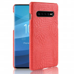 Shockproof Crocodile Texture PC + PU Case for Galaxy S10+ (Red)