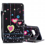 Colored Heart Pattern Horizontal Flip Leather Case for Galaxy S10e, with Holder & Card Slots & Wallet