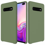 Shockproof Solid Color Liquid Silicone Case for Galaxy S10+ (Green)