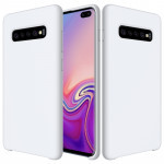 Shockproof Solid Color Liquid Silicone Case for Galaxy S10+ (White)