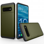 Shockproof Rugged Armor Protective Case for Galaxy S10, with Card Slot (Army Green)